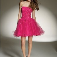 Buy Tulle Strapless Straight Neckline with Soft Beading and Floral Detailing Accents 2012 Short Ball Gown Cocktail Dress