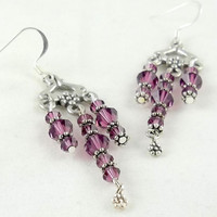 Purple Crystal Chandelier Earrings by theotherstacey on Etsy