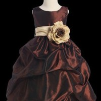 Newest Taffeta Ripple Dress with Color Sash Several Size Ranges