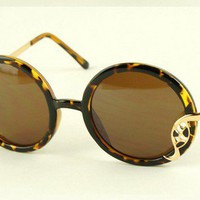 Reliefs Leopard Round Sunglasses