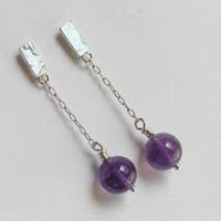 Dangle Amethyst Earrings - Short Dangle Earrings - Sterling Silver Chain Earrings - Dangle Post Earrings