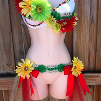 Custom Rave Outfit - Rasta Daisy Bra and Tutu