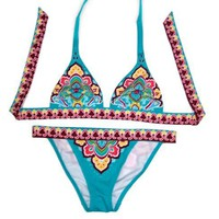 Blue Paisley Halter Top &amp; Banded Cheeky Bottom  Faboutique