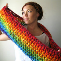 Double Rainbow Circle Scarf. Extra Chunky Infinity Cowl.