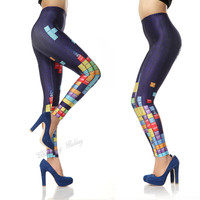 Rainbow Tetris Color Printing Leggings Pant