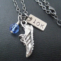 RUN 10k Race Month Crystal Charm - Running Necklace on 18 inch gunmetal chain - Choose Your Race Month Crystal - Road Race