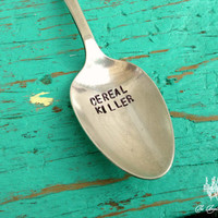 Your Choice Cereal Spoon Metal Stamped Upon Purchase 6 Options