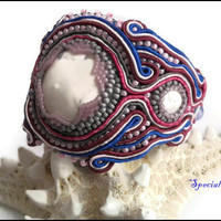 White Howlite Soutache Hand Beaded Pink, Grey, Burgundy, Blue Bracelet