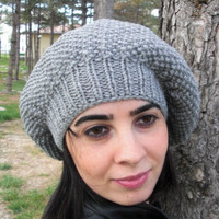 Hand Knit Hat  Womens hat  beret in Silver  Gray   Slouchy  Beanie   Back To School Fall Autumn  Fashion gifts  Winter Accessories