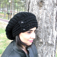 Hand Knit Hat- Womens hat - Winter  hat -  chunky knit Slouchy Beanie  Hat  with Button  Fall Winter Accessories   Black  Fashion