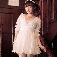 Shop Asian Japanese Korean Fashion Clothing -  Myk Pincess Sleeve V Neck Floral Dress