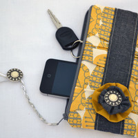 Mustard and grey pleated Clutch Purse, zippered Pouch, summer Clutch, wristlet