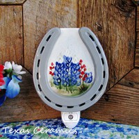 Ceramic Horseshoe Night Light with Hand Painted Texas Bluebonnets