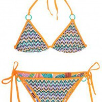 Boutique 1 - MISSONI - Multi ZZ with Dot Triangle Bikini | Boutique1.com