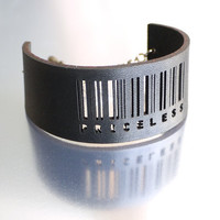 Slim Barcode Cuff in Black - Priceless, adjustable size with gumetal chain. modern jewelry, black leather cuff