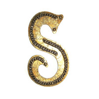 Decorative Letter S antique gold painted wall letters with chain details made to order initials and symbols 10 inch