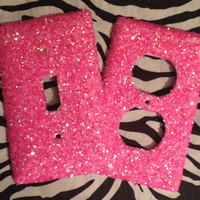 Glitter Petal Pink Outlet/Light Switch by MelaniesGlittermania