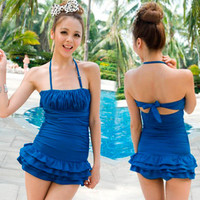 Womens Halter Monokini Swimwear Swimsuit Bathing Sexy Tiered Skirt