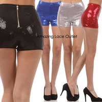 ZIPPER SEQUIN HIGH WAIST Waisted Boy Booty Shorts Shiny Sparkle Metallic Dance