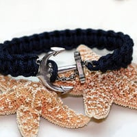 Navy Blue Anchor Bracelet Square Knot Cord Cuff Style