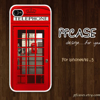 Telephone box of england london style : Handmade Case for Iphone 4/4s , Iphone 5 Case Iphone