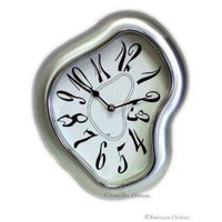 Retro Silver Modern Metal Salvador Dali Wall Clock