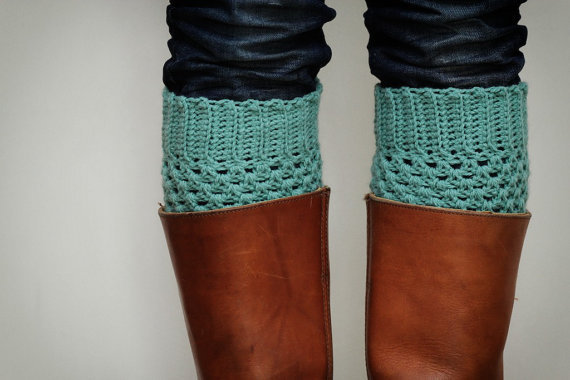 Crochet Boot Cuffs in Pastel Mint Green by LumiStyle on Etsy