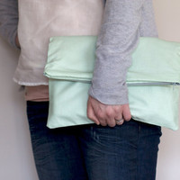 Fold over Zipper Clutch in Pastel Mint Green by LumiStyle