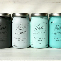 Tortola Ombre - SPRING and SUMMER Aqua and Grey Wedding Centerpieces / Painted Mason Jars / Home Decor / Decoration / Vase