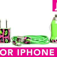 TRIPLE THREAT iPhone 5 Charger - Funky Cheetah Print on Green iPhone 5 Charger