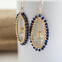 Lapis Dangle Earrings, Lapis and Gold Earrings, Wire Wrapped Earrings, Blue Earrings