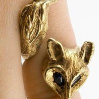 Gold Fox Ring with Enchanting Sapphire Eyes by AngelaMonaco