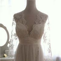 Vintage Lace Wedding Dress Bridal Gown Deep front back V Neck Open Back Long Lace sleeves A LINE Dress