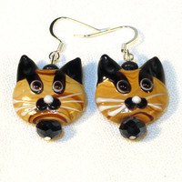 Calico Cat Earrings - Lampwork Beads