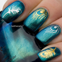 Metallic Peacock Feathers Nail Wraps Water Transfers Decal - Gold or Silver Nail Art YD064