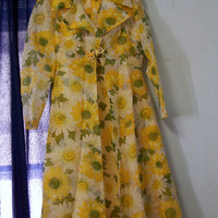 1960's Full Length Daisy Print Gown with Jacket