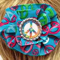 Peace Sign Tie Dye Hippie Duct Tape Hair Clip by PyrateWench