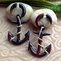 "Fake Gauge Earrings, ""Nautical Anchor"" Hand Carved, Sono Wood, Naturally Organic, Tribal"