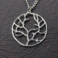 Wish tree necklace,retro silver tree necklace,big tree of life---N009