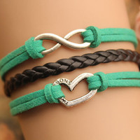 infinity bracelet,retro silver little love heart bracelet,black braid leather bracelet,green rope---B248