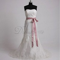 [180.47] Elegant Exquisite Satin & Lace Sheath Sweetheart Wedding Dress In Great Handwork - Dressilyme.com