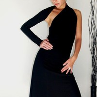 Unique Party Black One Shoulder Sleeve A Line Dress l - Free US Shipping - Donation to UNICEF - Item MM-DRT13-1.1B04