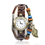 Fashion Handmade Brown Leather Watch with Leaf Pendant
