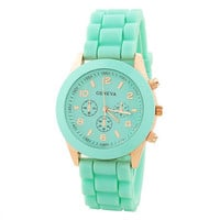Lovely Rose Gold & Mint Rubber Strap Watch from Noveltylike