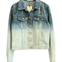 Boyfriend Denim Jacket in Gradient Washed