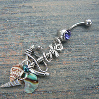 anchor and shells belly ring abalone seashells purple blue in beach