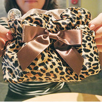 Fashion leopard grain cosmetic bag&amp;Lovely bow bag