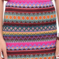 Embroidered Stripes Skirt