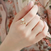 accessoryinlove  Fashion Rhinestone Stretch Flower Ring