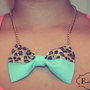 Tiffany Blue and Leopard Print Necklace. Item is made in the USA ** ALSO AVAILABLE IN HOT PINK !